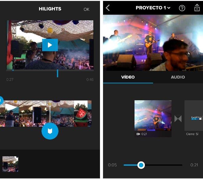 Interfaz de Splice para editar vídeos en iOS
