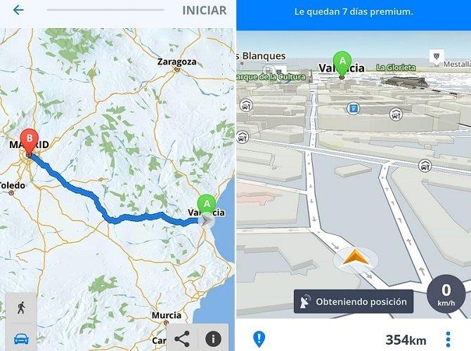 Interfaz de Sygic, uno de los mejores GPS para Android