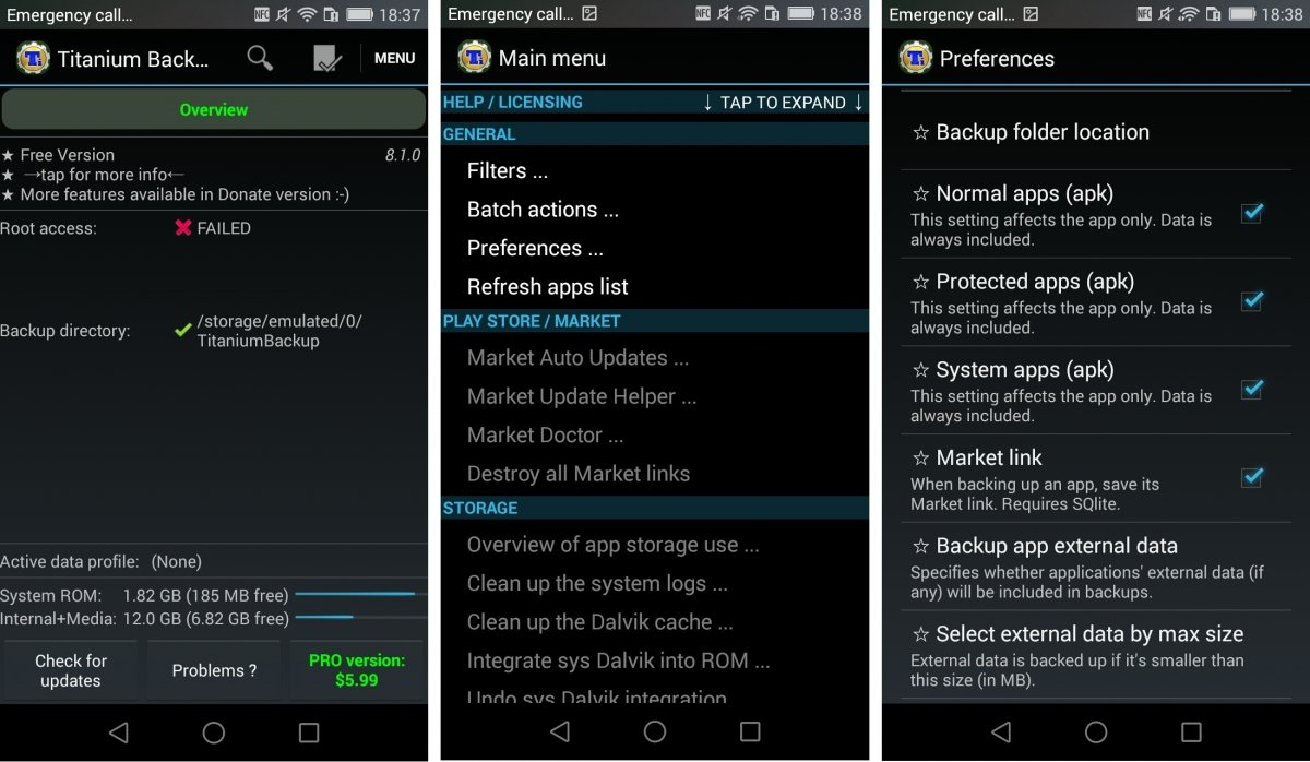 Interfaz de Titanium Backup para Android