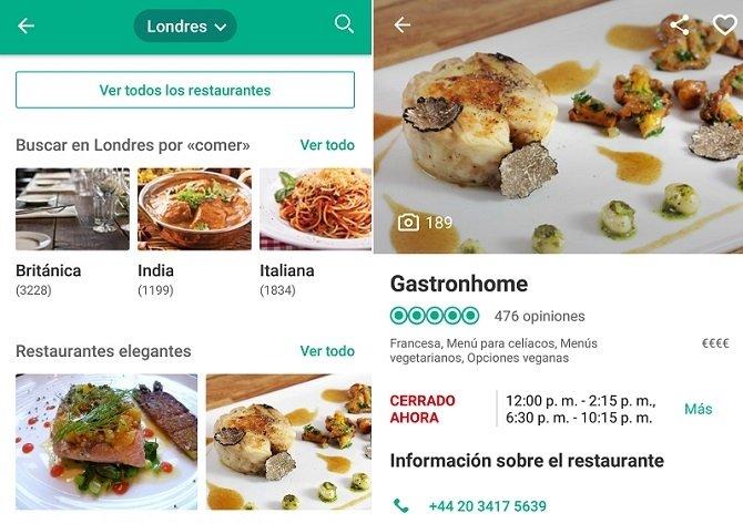 Interfaz de TripAdvisor, la aplicación que te recomienda los mejores restaurantes