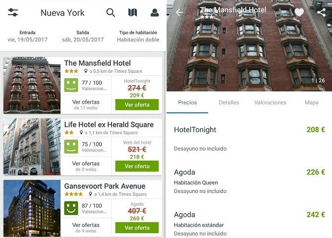Interfaz de Trivago, el mejor comparador de hoteles