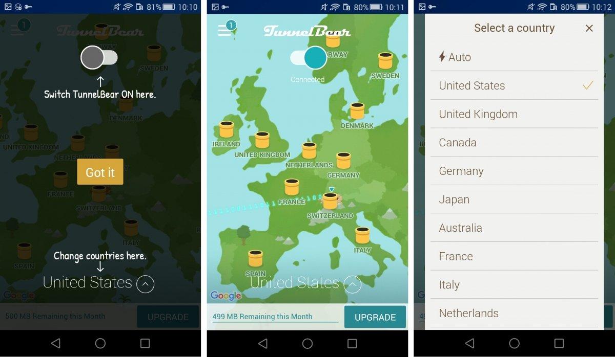 Interfaz de TunnelBear en Android