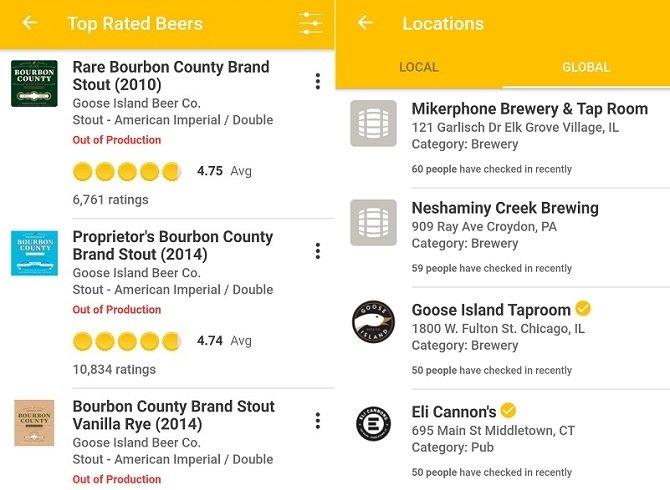 Interfaz de Untappd, la app esencial para cerveceros de vacaciones