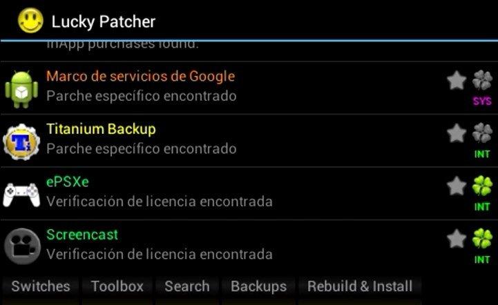 Interfaz de usuario de Lucky Patcher