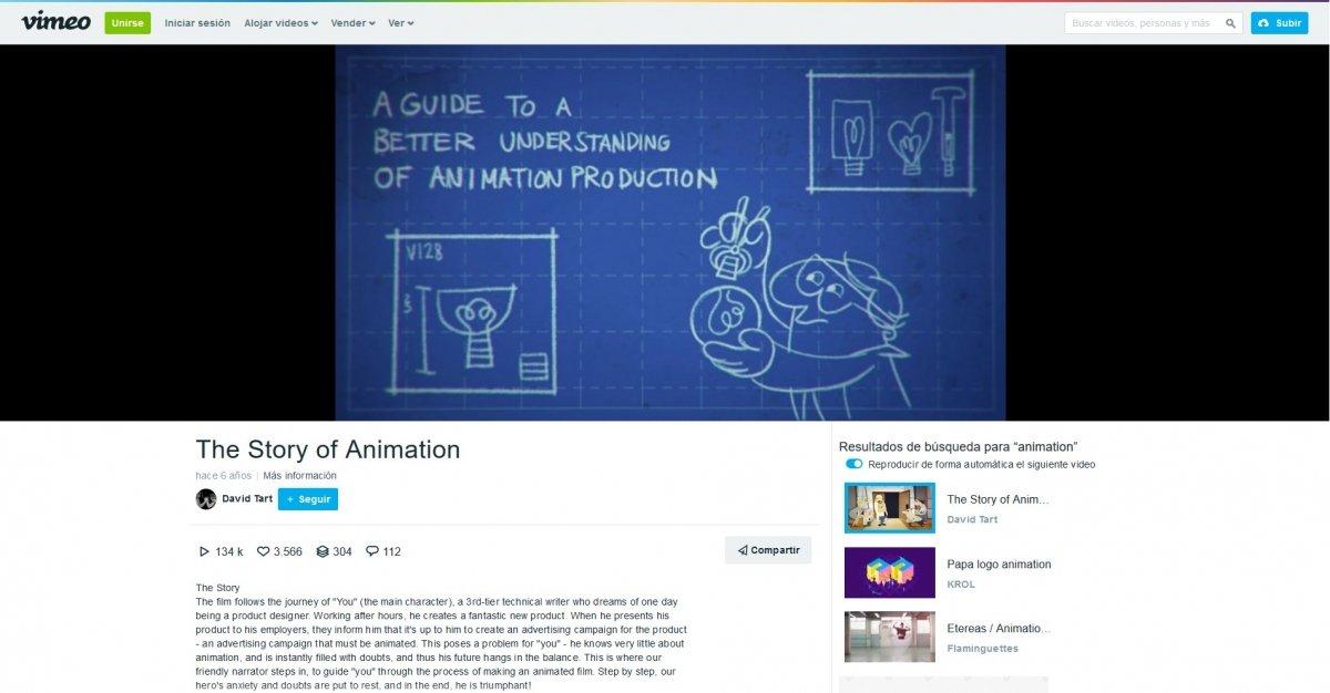 Interfaz de Vimeo