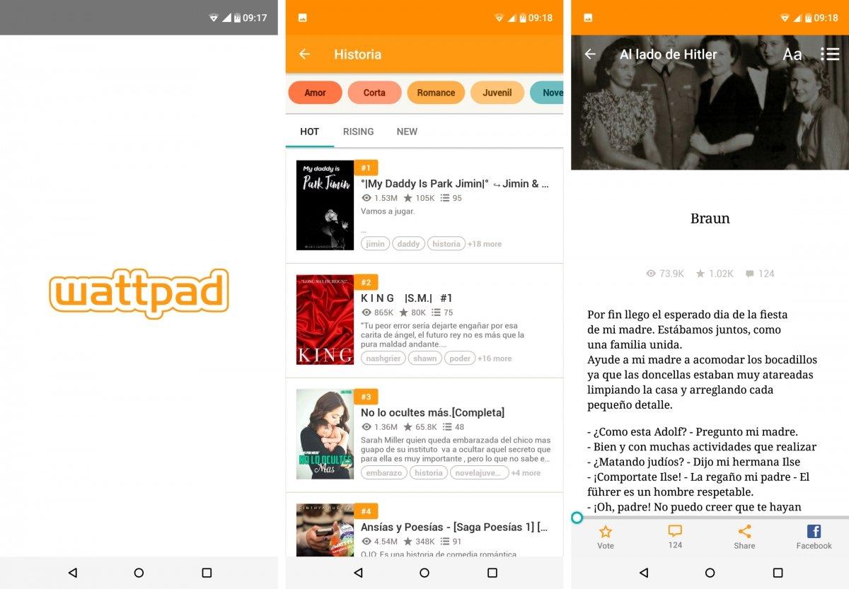 Interfaz de Wattpad para Android