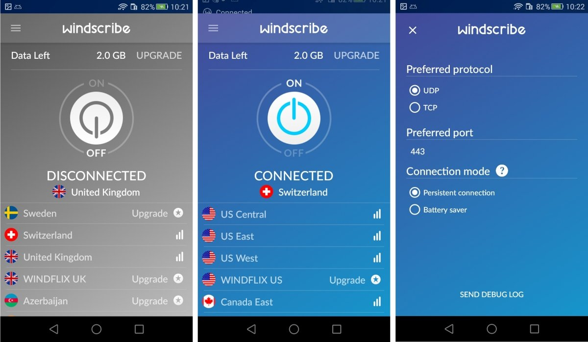 Interfaz de Windscribe para Android