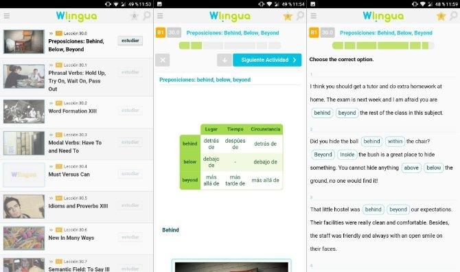 Interfaz de Wlingua en Android