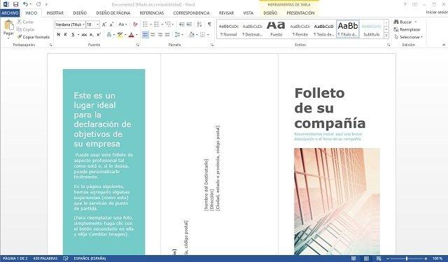 Interfaz de Word 2013