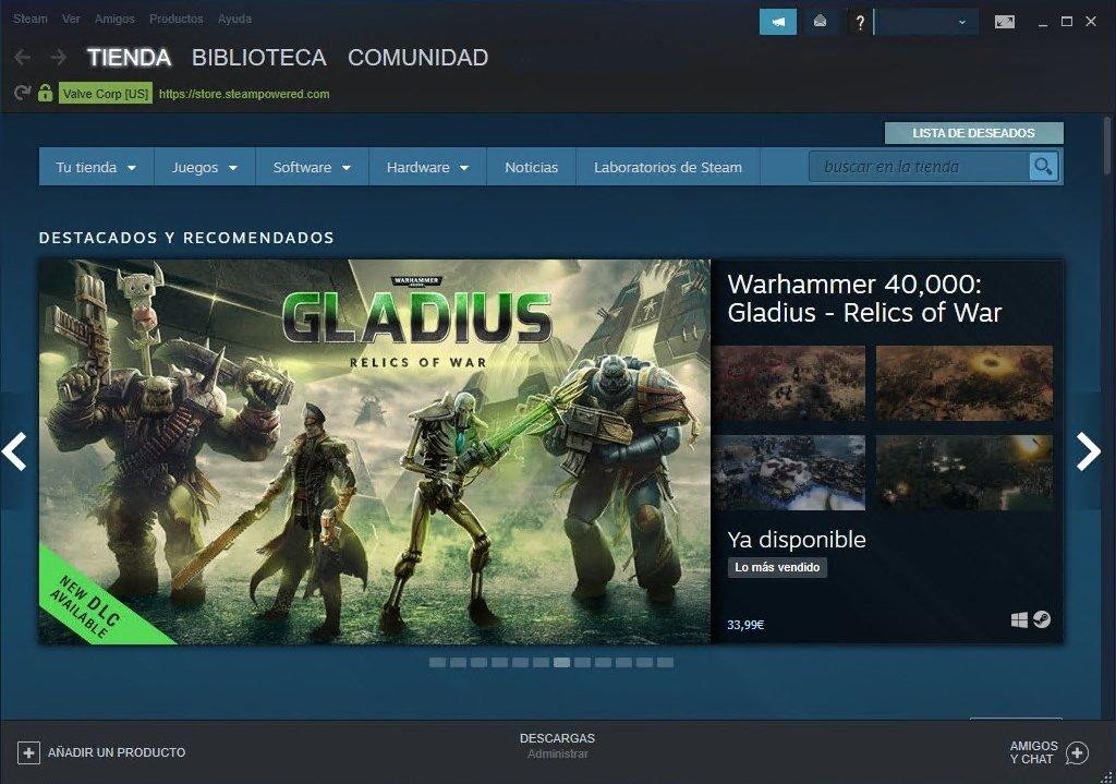 Interfaz del cliente de Steam