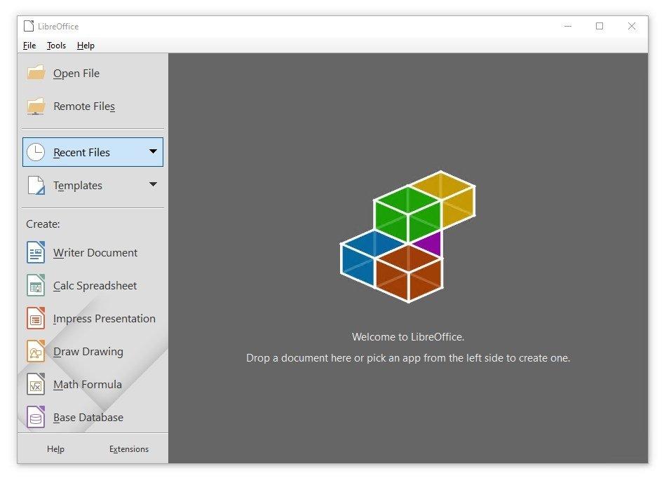 Interfaz inicial de LibreOffice
