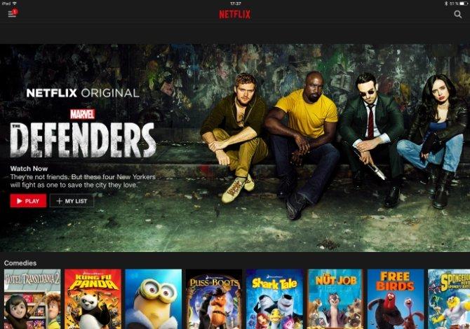 Interfaz principal de Netflix en un iPad
