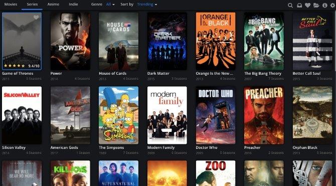 Interfaz principal de Popcorn Time