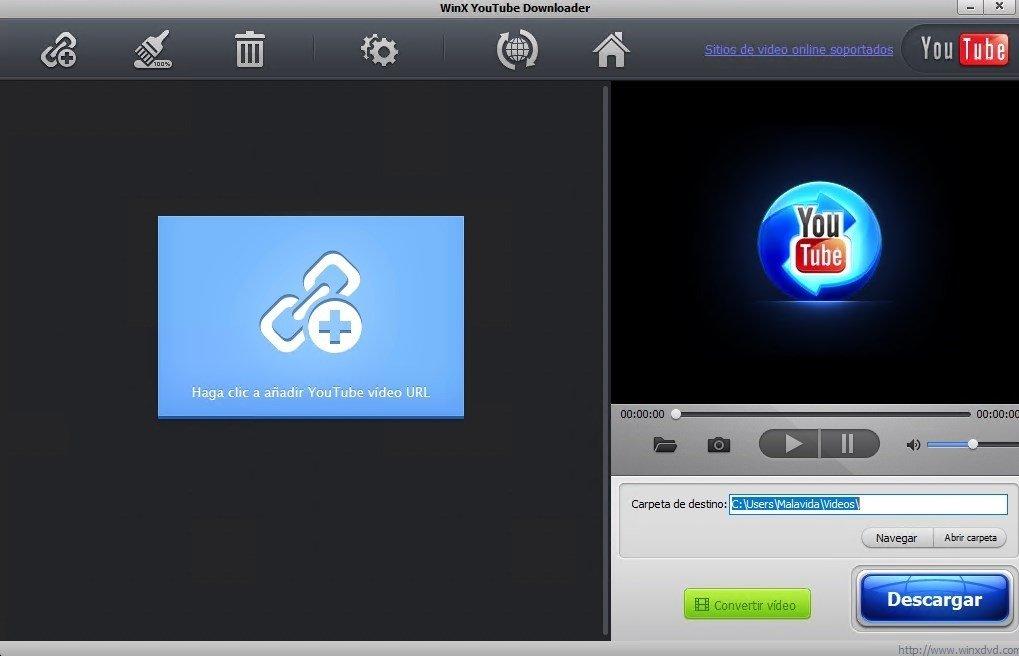 Interfaz principal de WinX YouTube Downloader