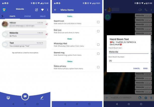 Interfaz y alguna función novedosa de HAZRD WhatsApp