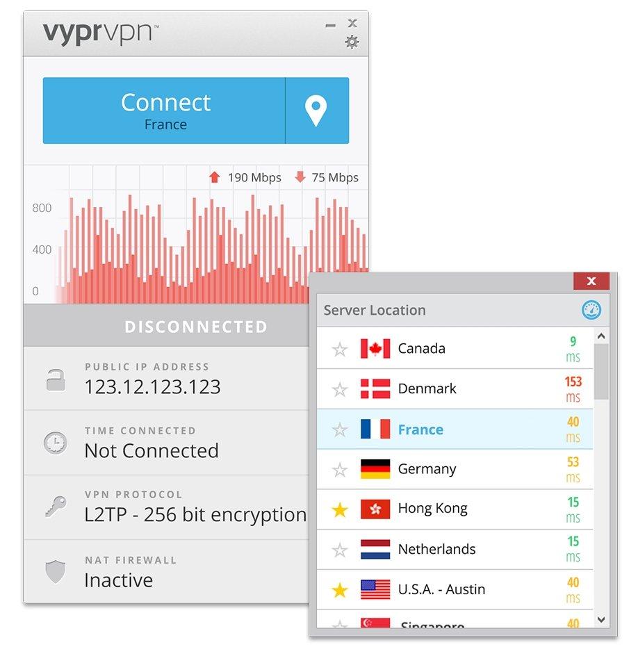 Interfaz y localizaciones de Vypr VPN