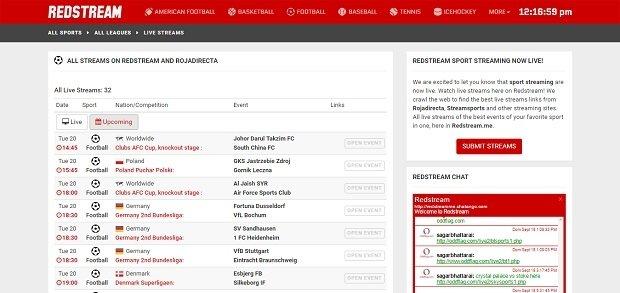 Interfaz de la web de Redstream