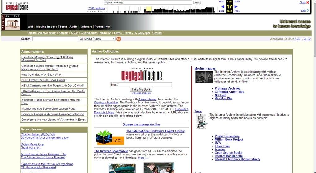 Internet Archive a día 17 de febrero de 2003