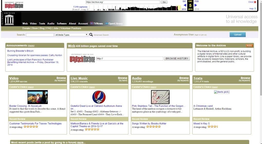 Internet Archive a día 5 de enero de 2015