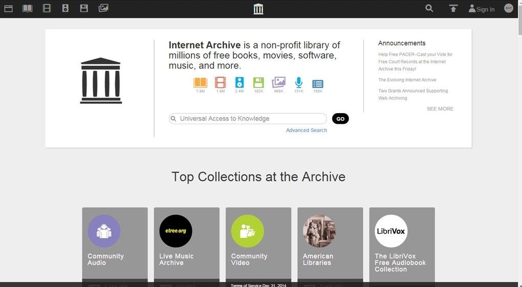 Internet Archive a día 5 de mayo de 2015