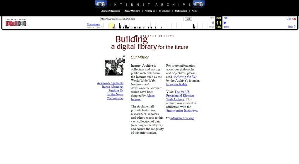 Internet Archive en sus inicios