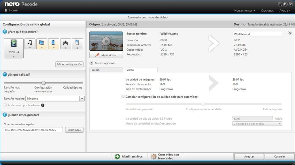 Intuitiva conversión de vídeos con Nero Recode