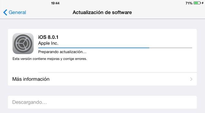 iOS 8.0.1 ya disponible