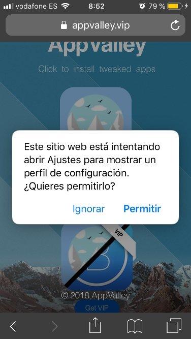 iOS alerta de una web que quiere acceder a los ajustes