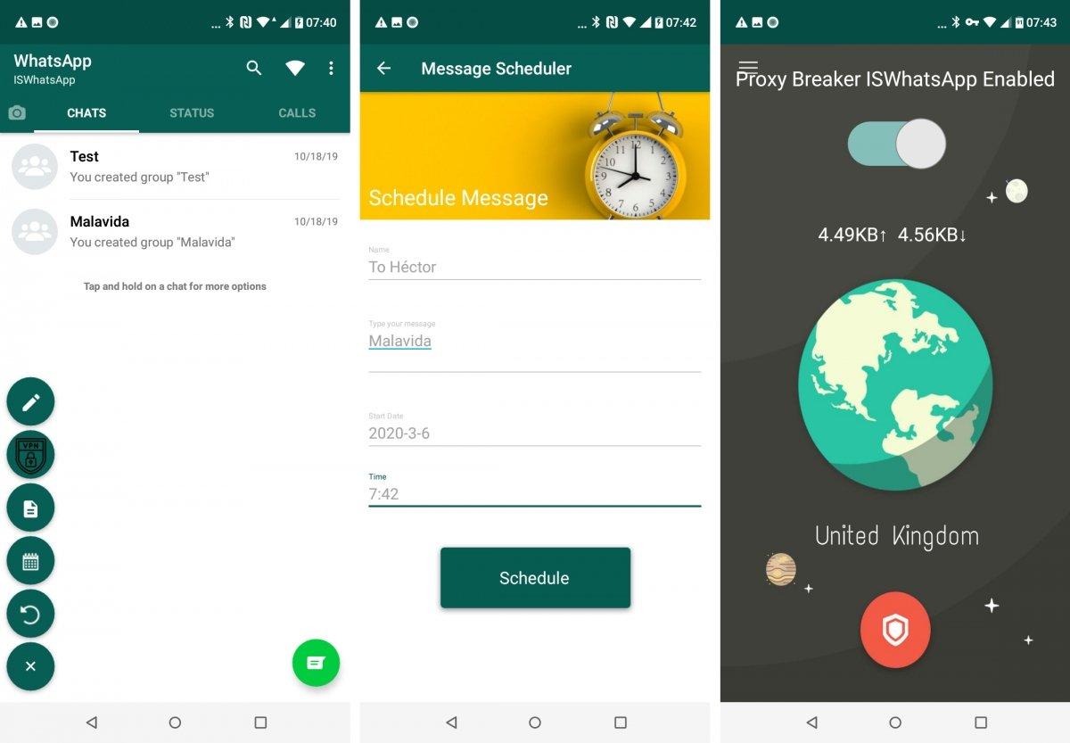 ISWhatsApp Plus incluye programador de mensajes y VPN