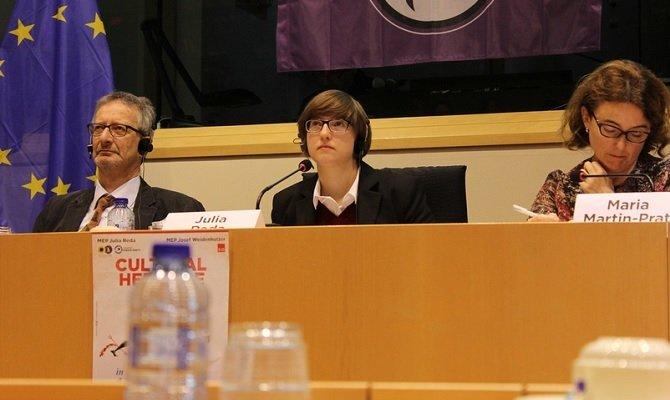 Julia Reda en una ponencia sobre Patrimonio Cultural