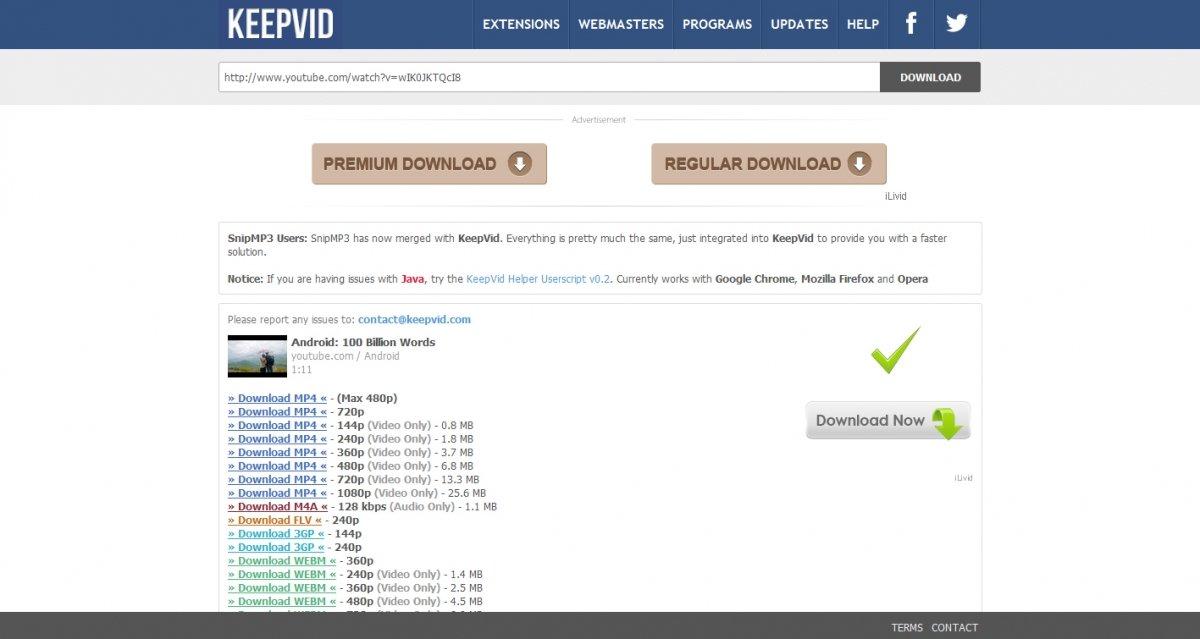 Keepvid es una de las páginas más conocidas para la descarga de vídeos
