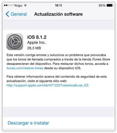 La actualización de iOS 8.1.2 ya se puede descargar