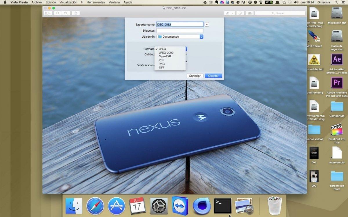 La app Vista Previa permite cambiar el formato de salida