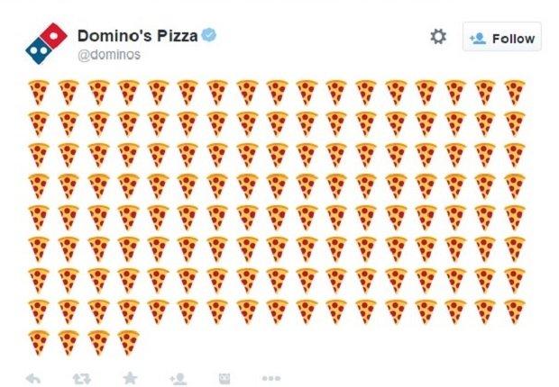 La cuenta oficial de Domino's lleva hora twitteando emojis de pizza