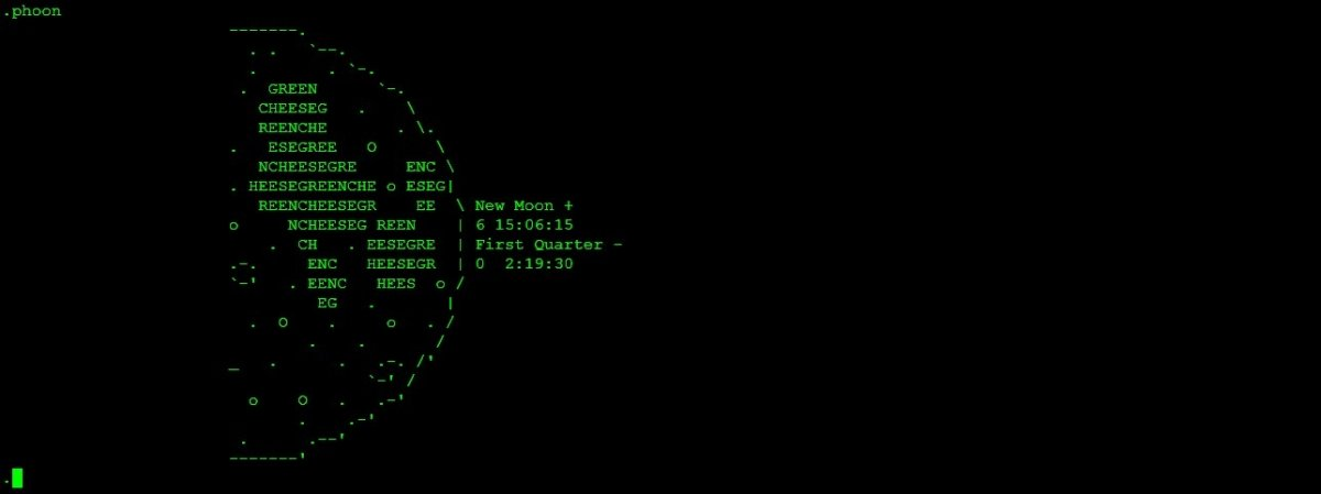 La fase lunar en ASCII según Telehack
