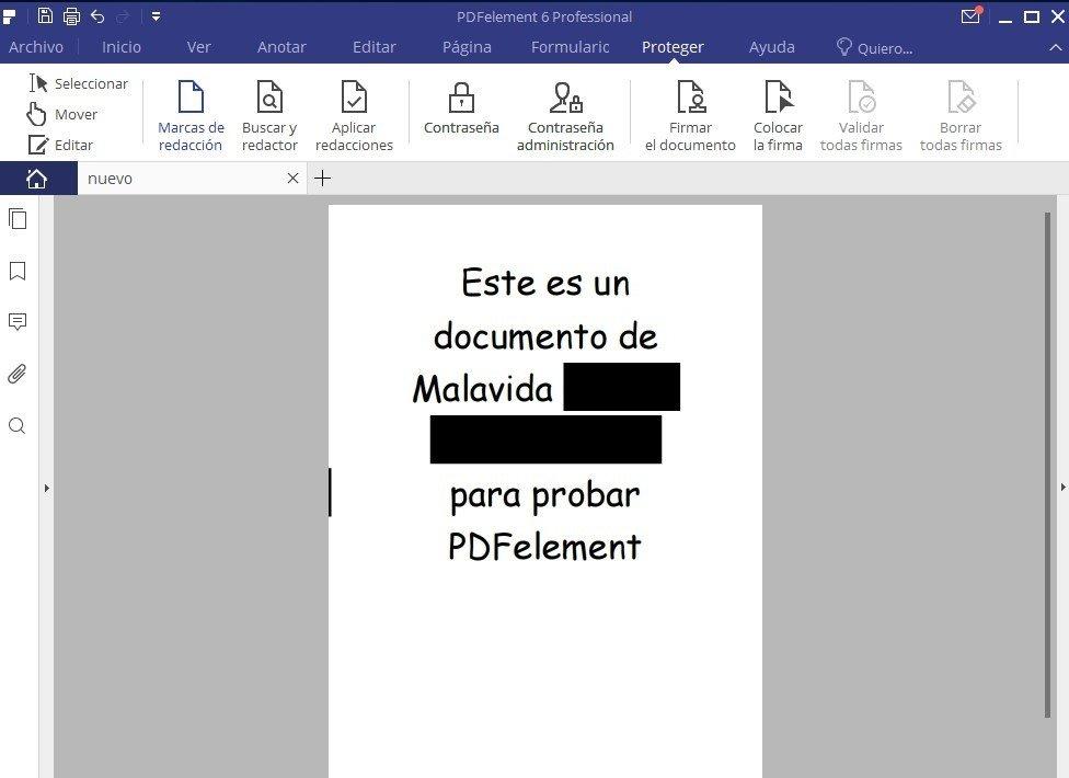 La función para añadir marcas de redacción en PDFelement