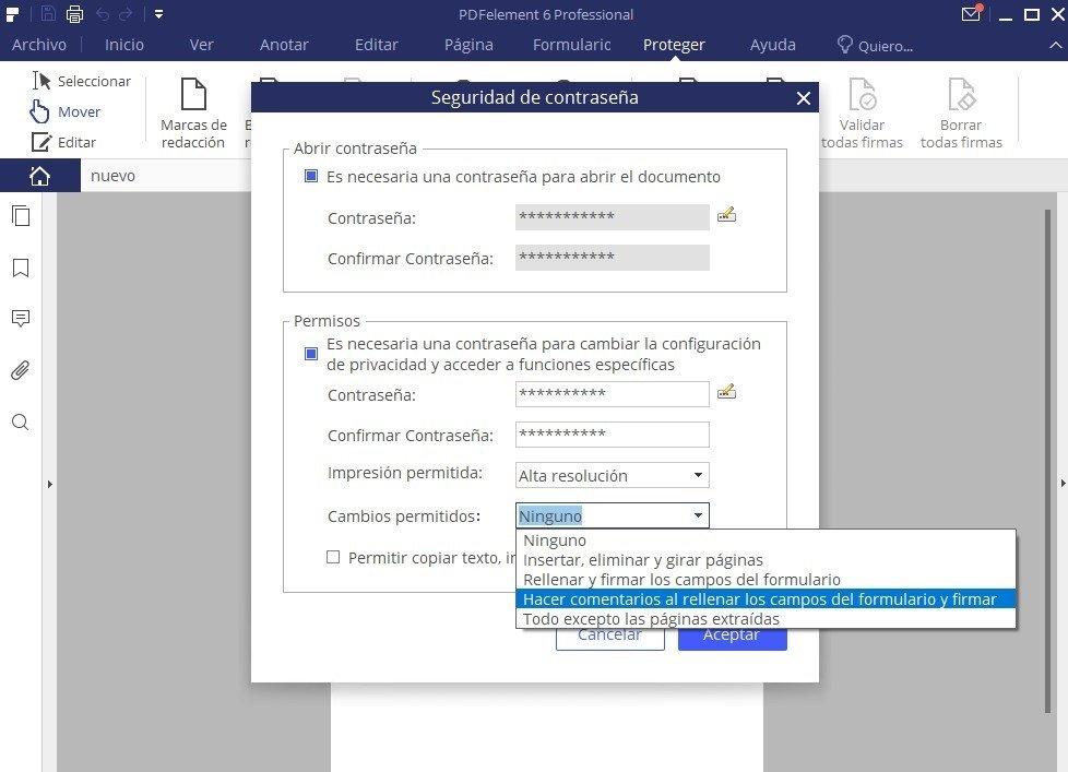 La impresión, el copiado o la modificación también se pueden proteger con contraseña en un PDF
