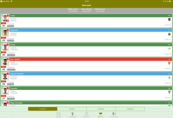 La interfaz de Comunio Manager luce mucho mejor que la que nos ofrece la app oficial