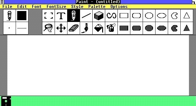 La interfaz de Paint en Windows 1.0