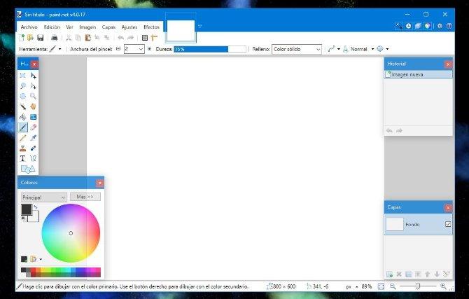La interfaz de Paint.Net ofrece una organización diferente a la de Paint