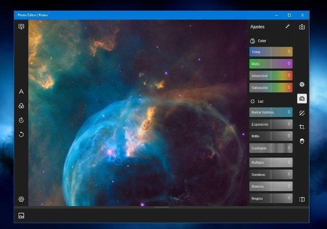 La interfaz de Polarr recuerda a la de Adobe Lightroom