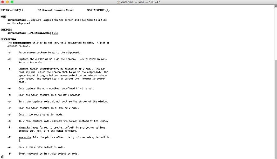 La línea de comandos o Terminal también permite la captura de imágenes en pantalla pero con mayor fl