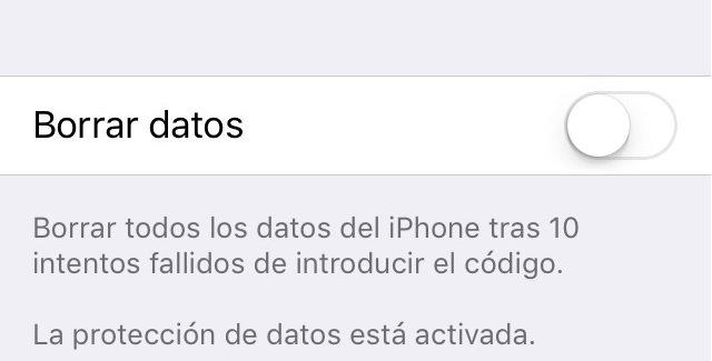 La opción que permite borrar el contenido del iPhone tras 10 intentos fallidos de introducir el PIN