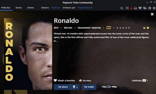 La peli oficial de CR7 es uno de los contenidos a 'disfrutar' en Popcorn Time