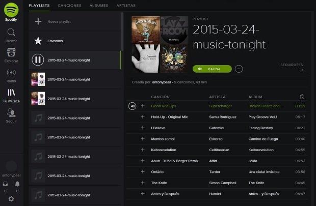 La playlist generada puede reproducirse en Spotify