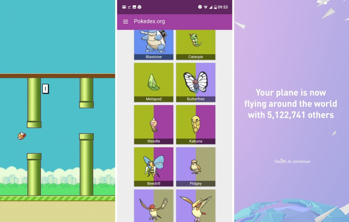 La Pokédex y los juegos Flappy Bird y Paper Plans ejecutados como PWA