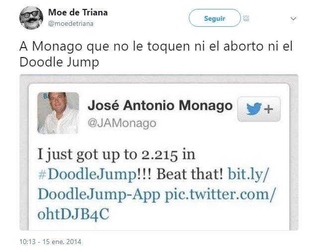 La prueba del récord de José Antonio Monago en el Doodle Jump