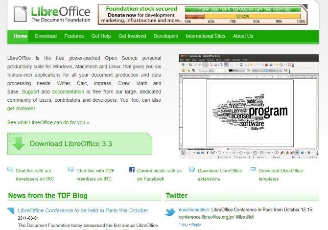 La recién inaugurada web de LibreOffice en el año 2011