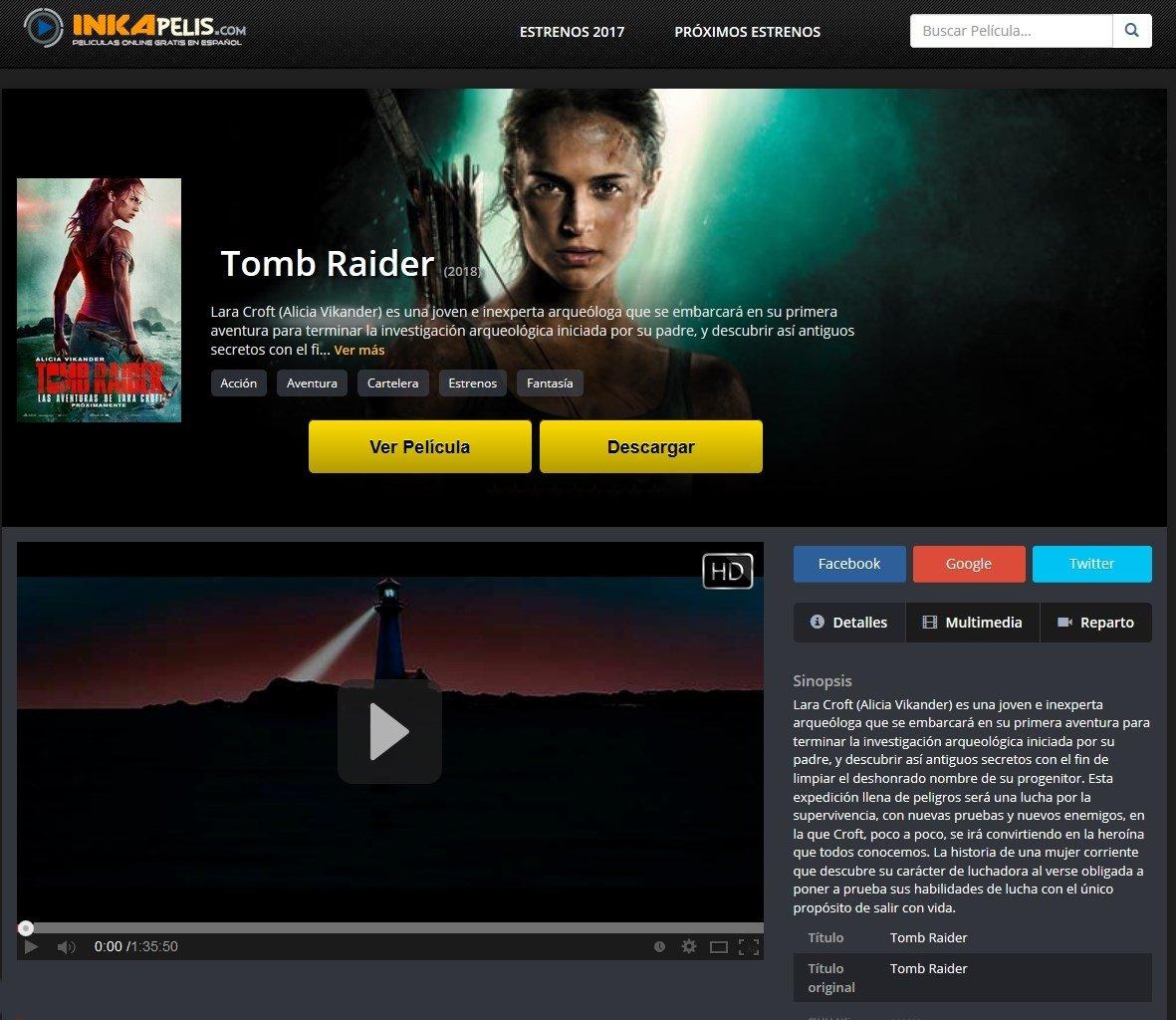 La última de Tomb Raider en Inkapelis