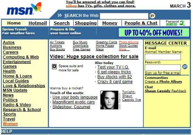 La web de MSN en el año 2000, saturada de información